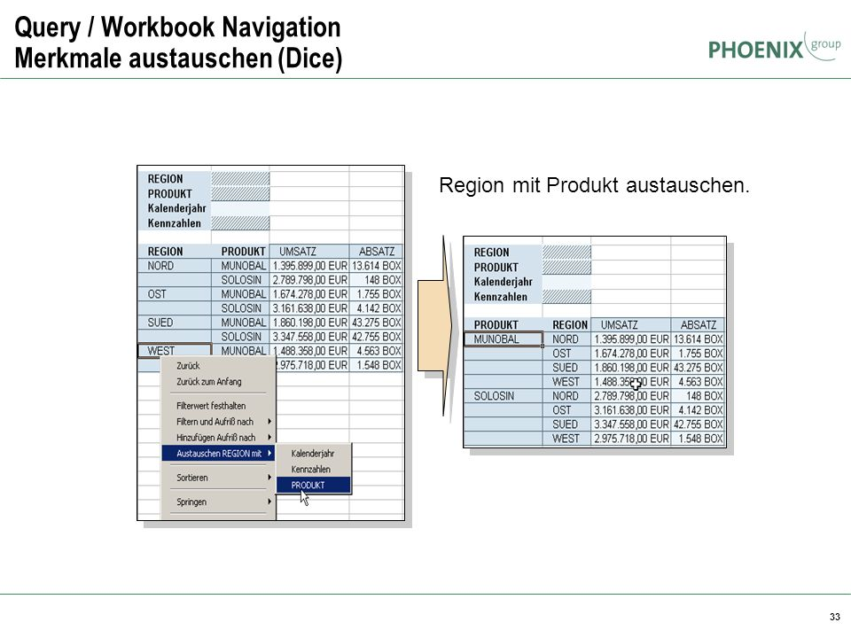 Query / Workbook Navigation Merkmale austauschen (Dice)