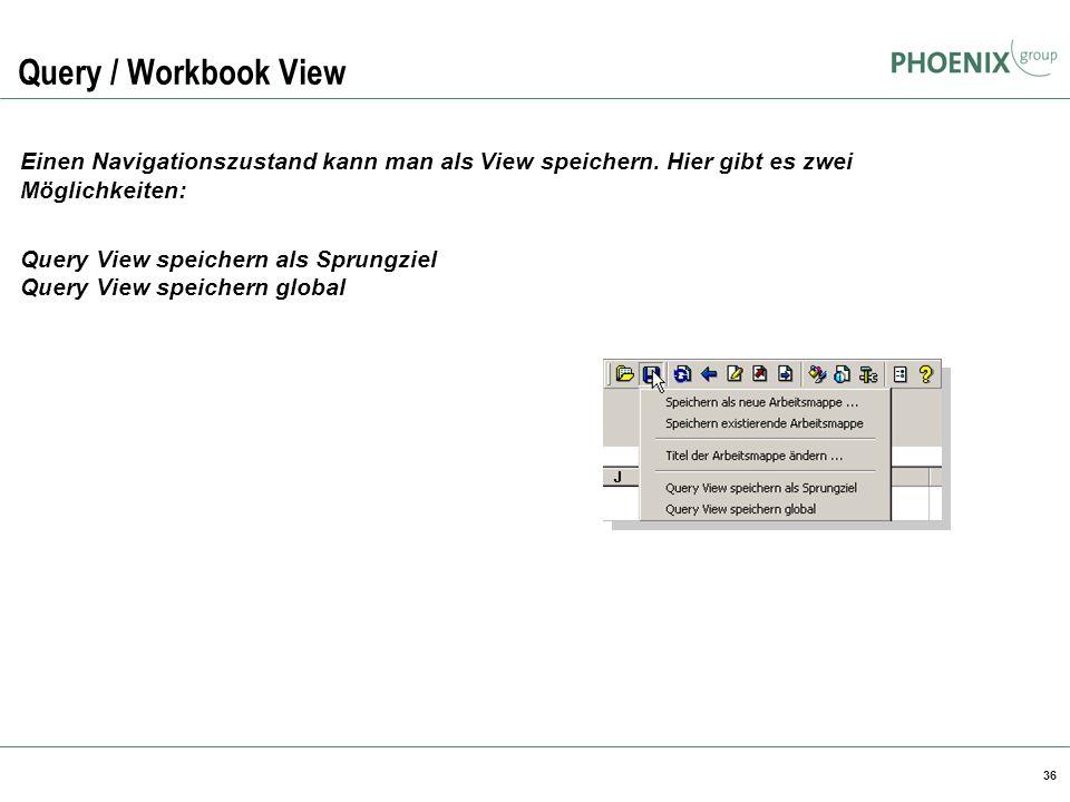 Query / Workbook View BW Reporting. Einen Navigationszustand kann man als View speichern. Hier gibt es zwei Möglichkeiten: