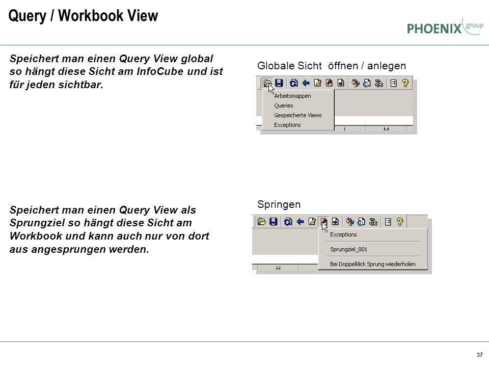 Query / Workbook View BW Reporting. Speichert man einen Query View global so hängt diese Sicht am InfoCube und ist für jeden sichtbar.