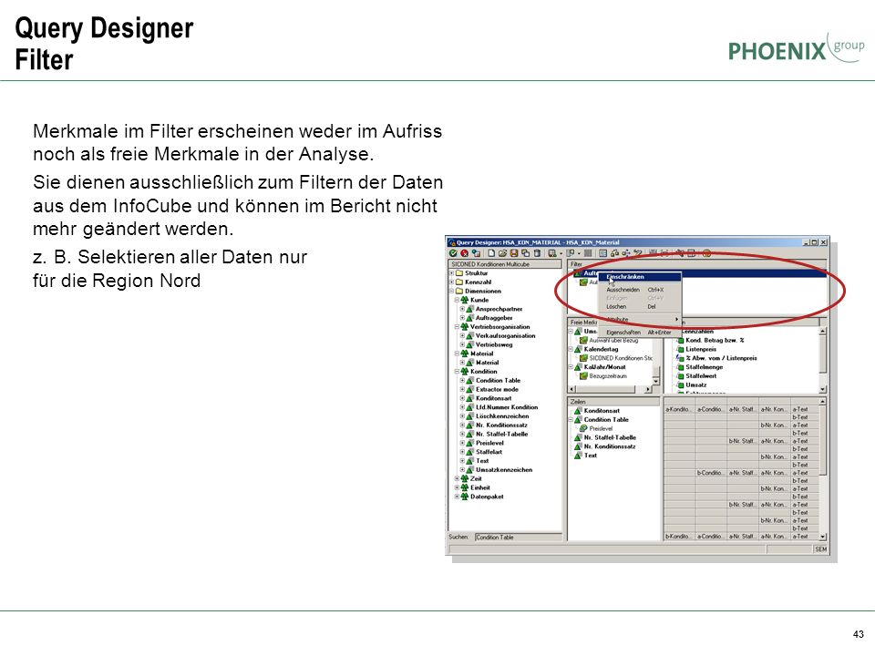 Query Designer Filter BW Reporting. Merkmale im Filter erscheinen weder im Aufriss noch als freie Merkmale in der Analyse.