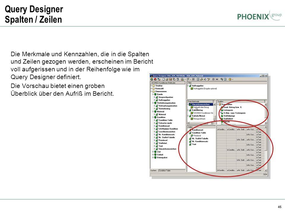 Query Designer Spalten / Zeilen