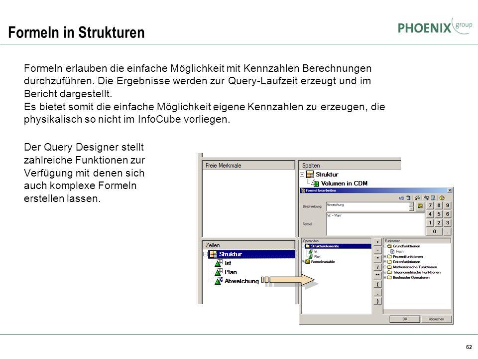 Formeln in Strukturen BW Reporting.