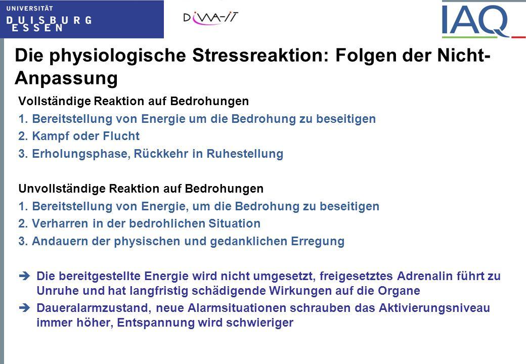 Die physiologische Stressreaktion: Folgen der Nicht-Anpassung