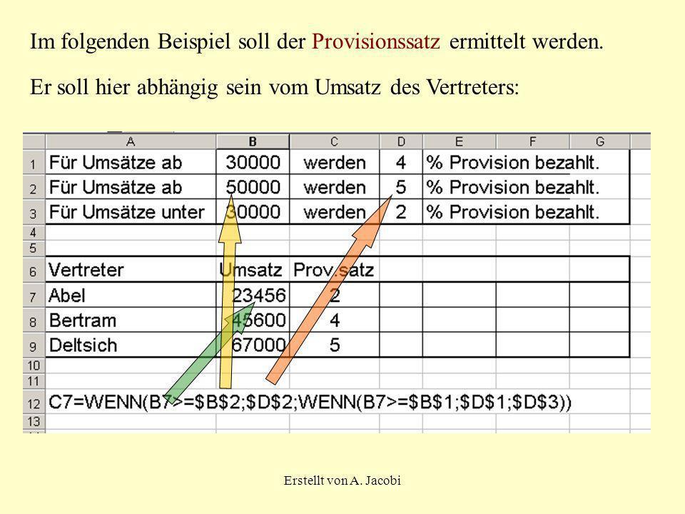 Im folgenden Beispiel soll der Provisionssatz ermittelt werden.