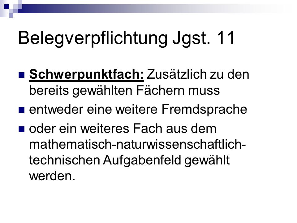 Belegverpflichtung Jgst. 11