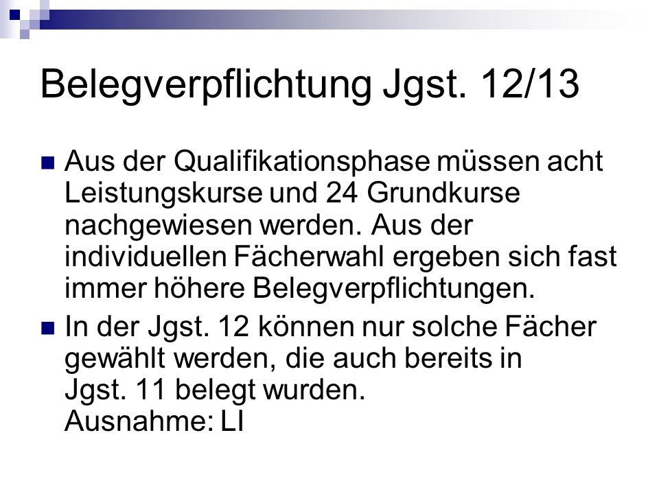 Belegverpflichtung Jgst. 12/13