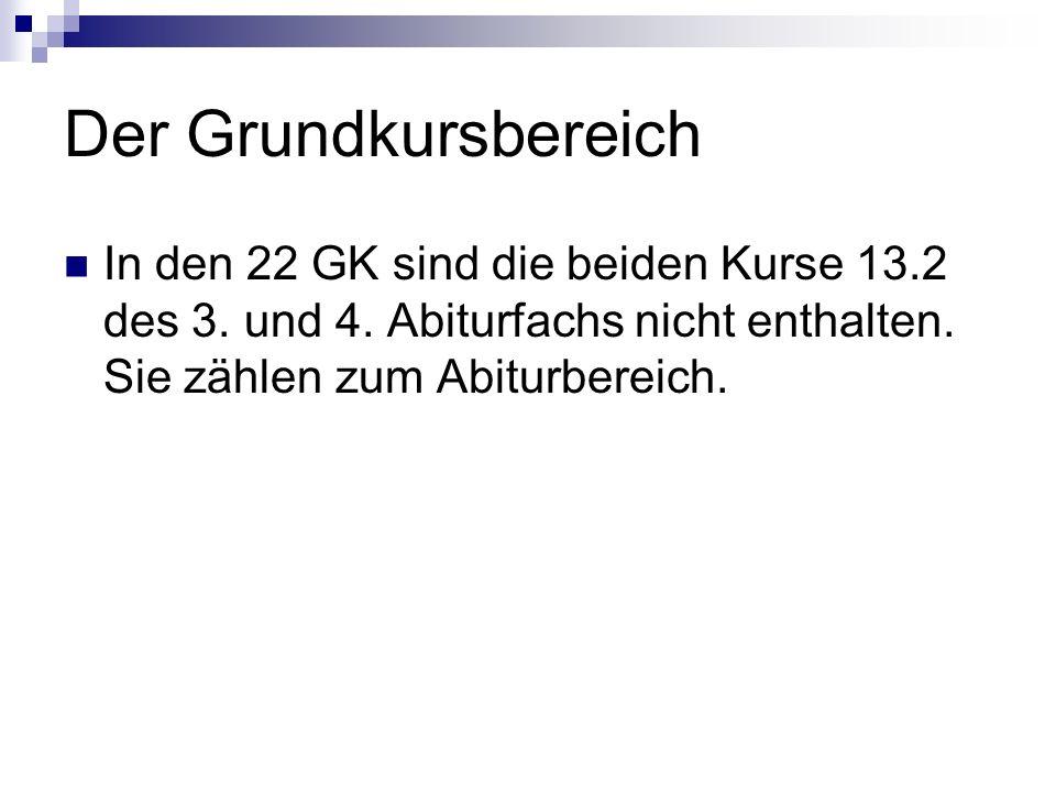 Der Grundkursbereich In den 22 GK sind die beiden Kurse 13.2 des 3.