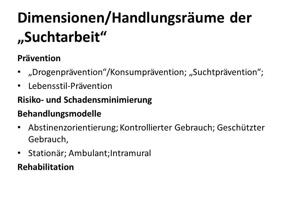 """Dimensionen/Handlungsräume der """"Suchtarbeit"""