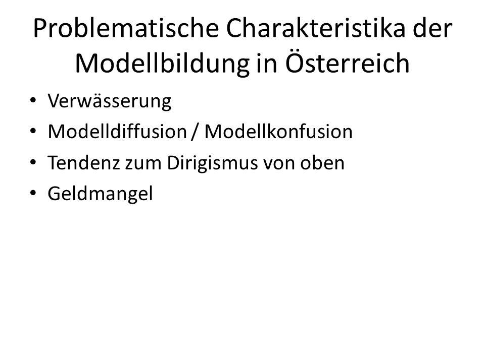Problematische Charakteristika der Modellbildung in Österreich