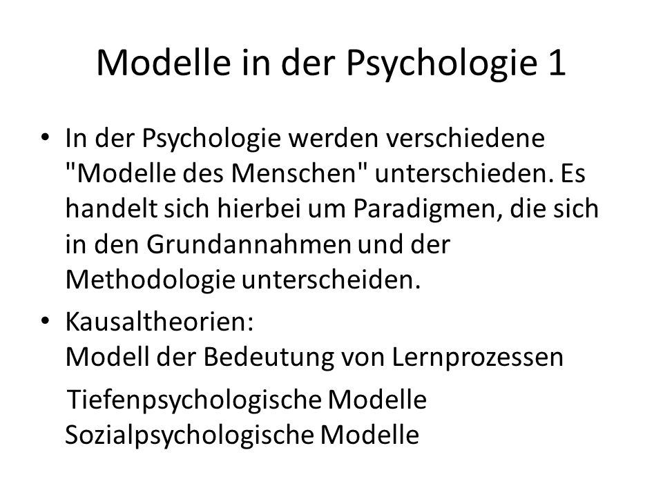 Modelle in der Psychologie 1