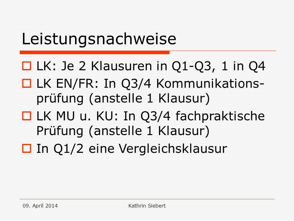 Leistungsnachweise LK: Je 2 Klausuren in Q1-Q3, 1 in Q4