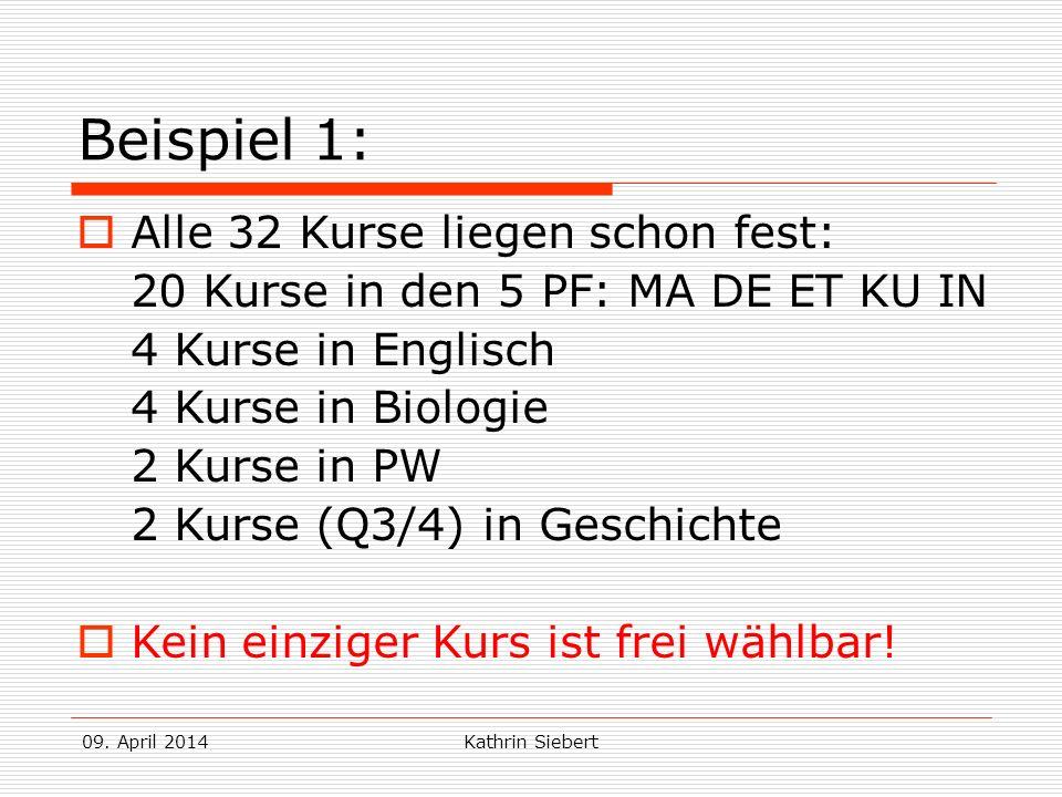 Beispiel 1: Alle 32 Kurse liegen schon fest: