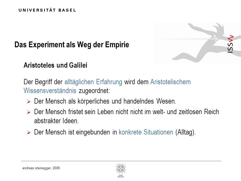 Das Experiment als Weg der Empirie Aristoteles und Galilei