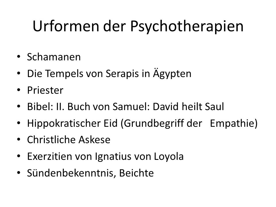 Urformen der Psychotherapien