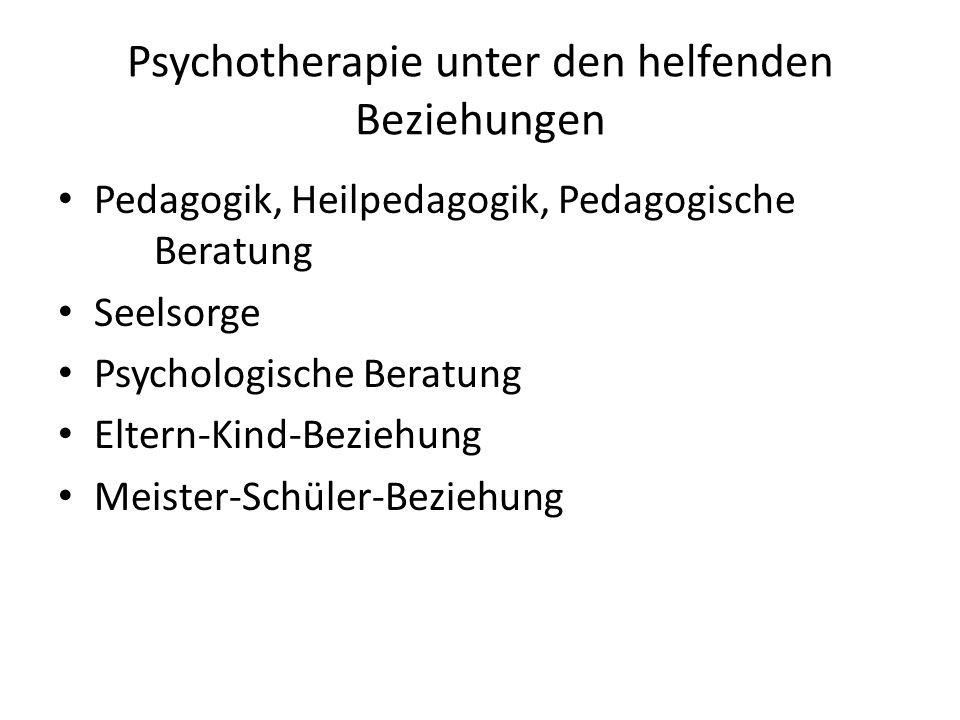 Psychotherapie unter den helfenden Beziehungen