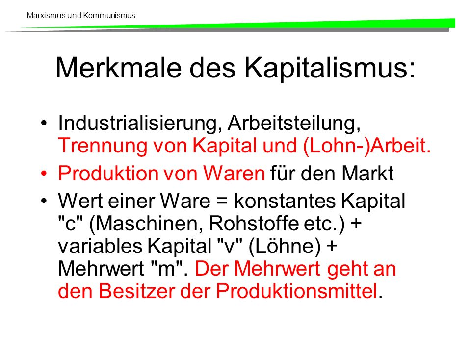 Merkmale des Kapitalismus: