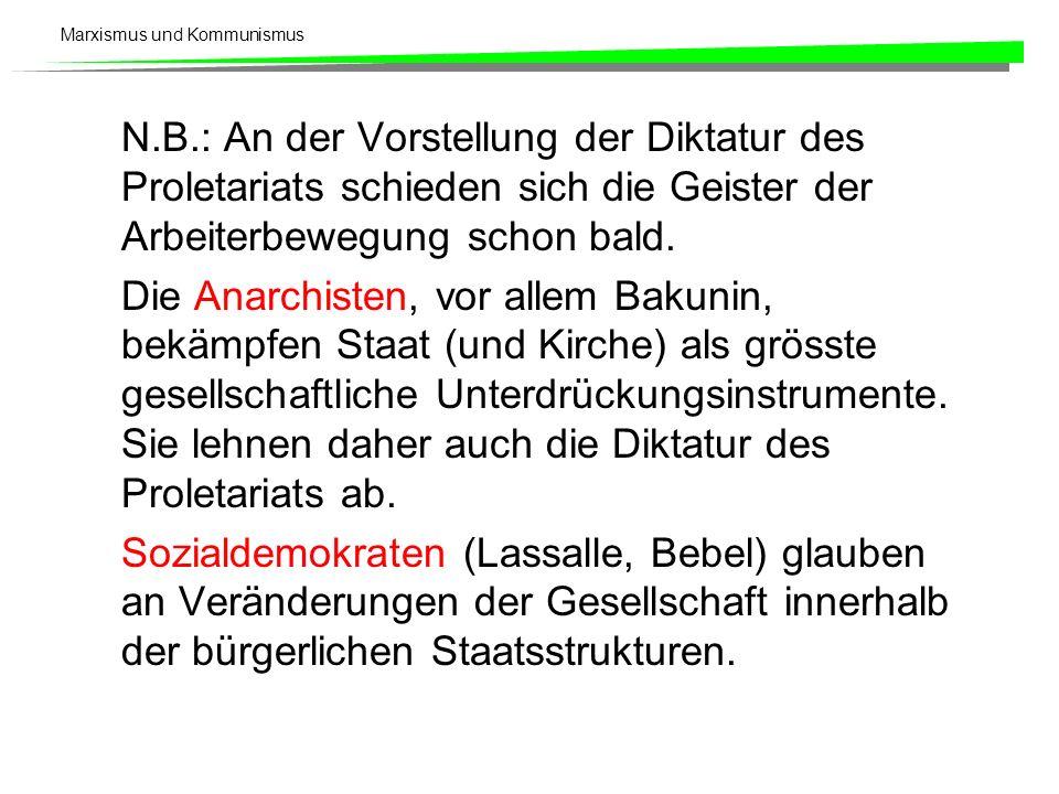 N.B.: An der Vorstellung der Diktatur des Proletariats schieden sich die Geister der Arbeiterbewegung schon bald.