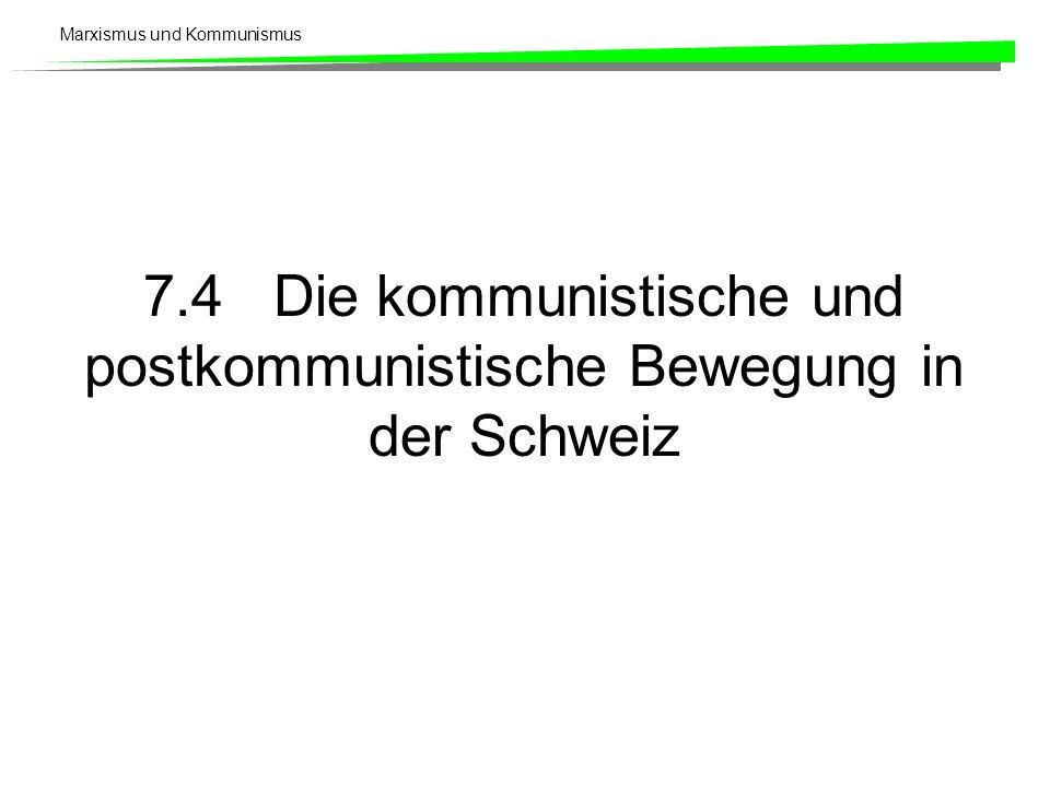 7.4 Die kommunistische und postkommunistische Bewegung in der Schweiz