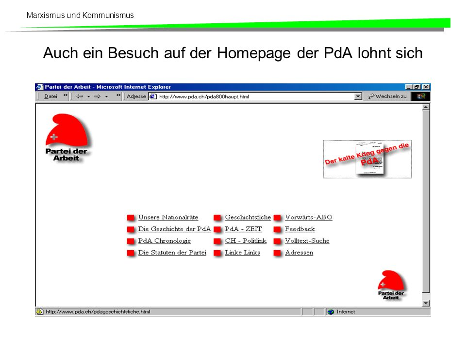 Auch ein Besuch auf der Homepage der PdA lohnt sich