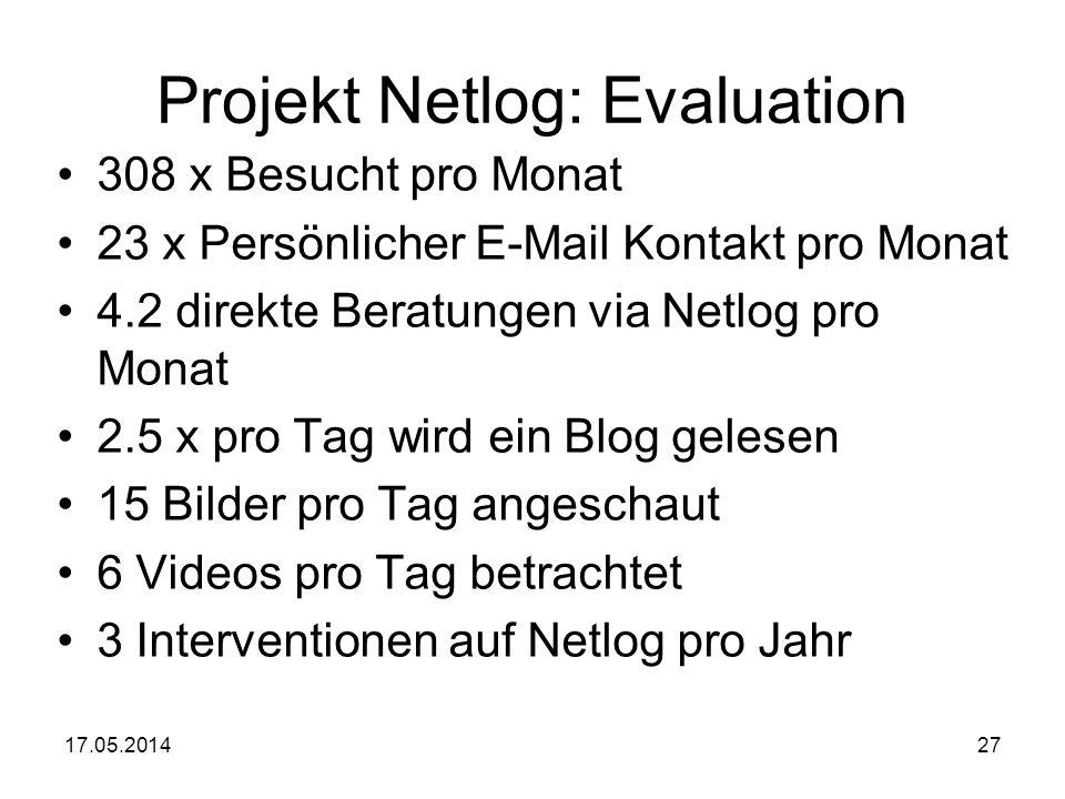 Projekt Netlog: Evaluation