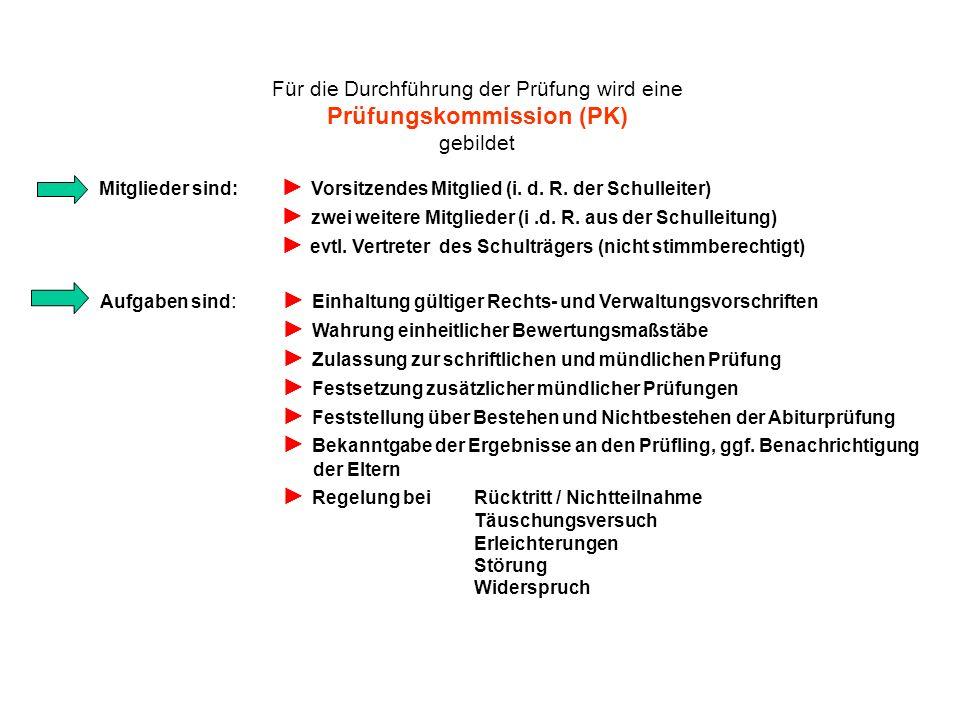 Für die Durchführung der Prüfung wird eine Prüfungskommission (PK) gebildet