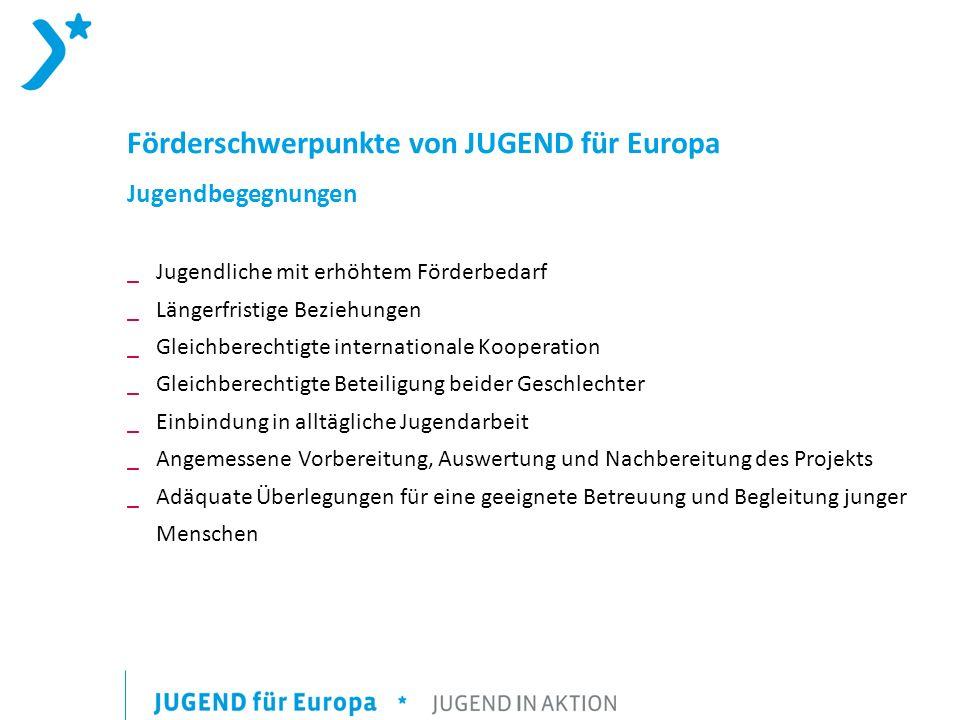 Förderschwerpunkte von JUGEND für Europa