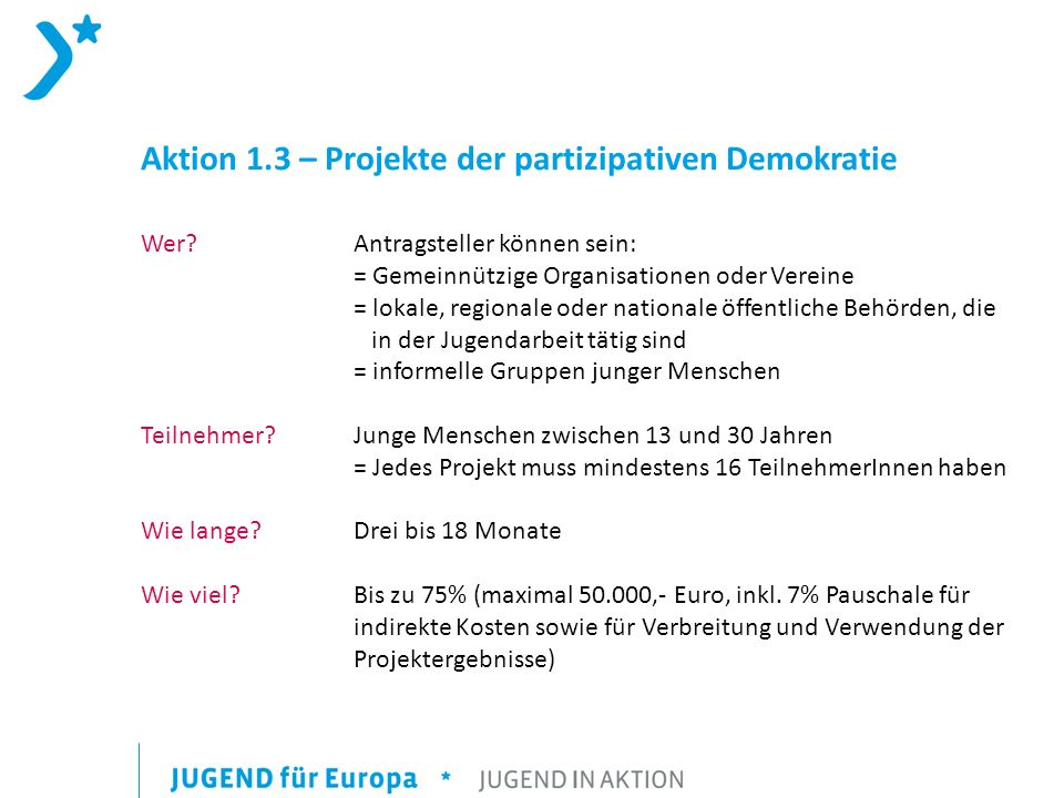 Aktion 1.3 – Projekte der partizipativen Demokratie