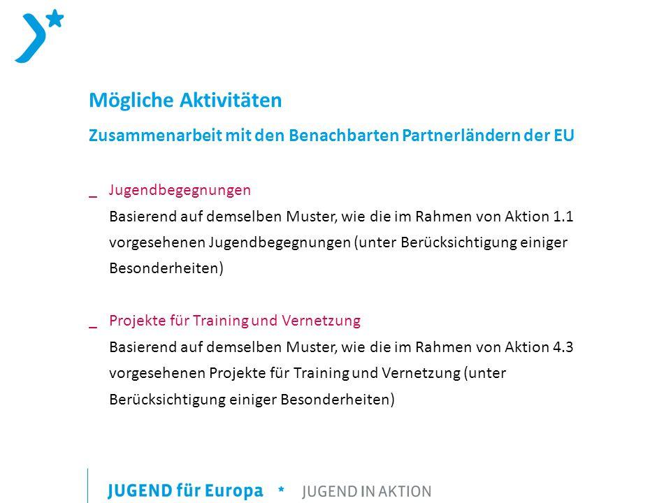 Mögliche Aktivitäten Zusammenarbeit mit den Benachbarten Partnerländern der EU.