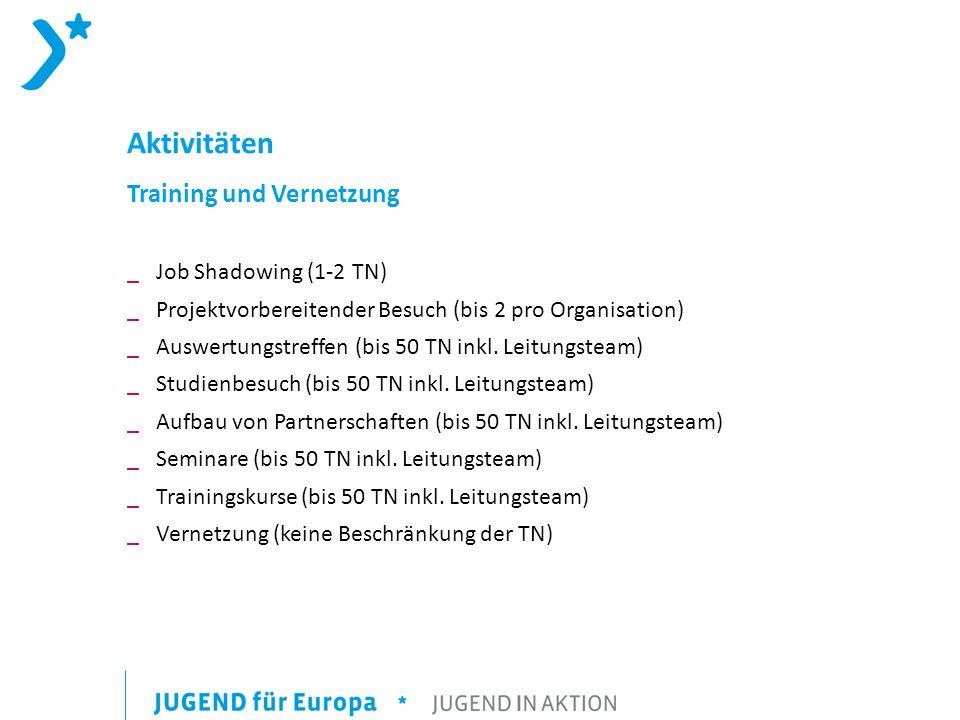 Aktivitäten Training und Vernetzung Job Shadowing (1-2 TN)