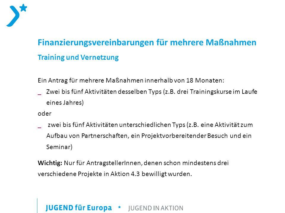 Finanzierungsvereinbarungen für mehrere Maßnahmen