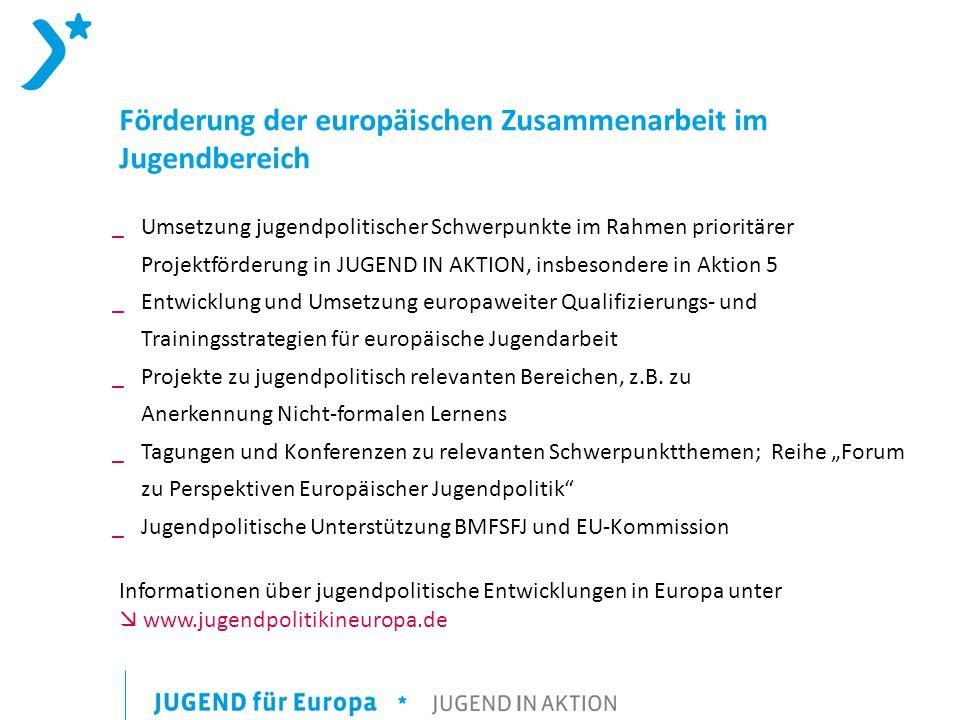 Förderung der europäischen Zusammenarbeit im Jugendbereich