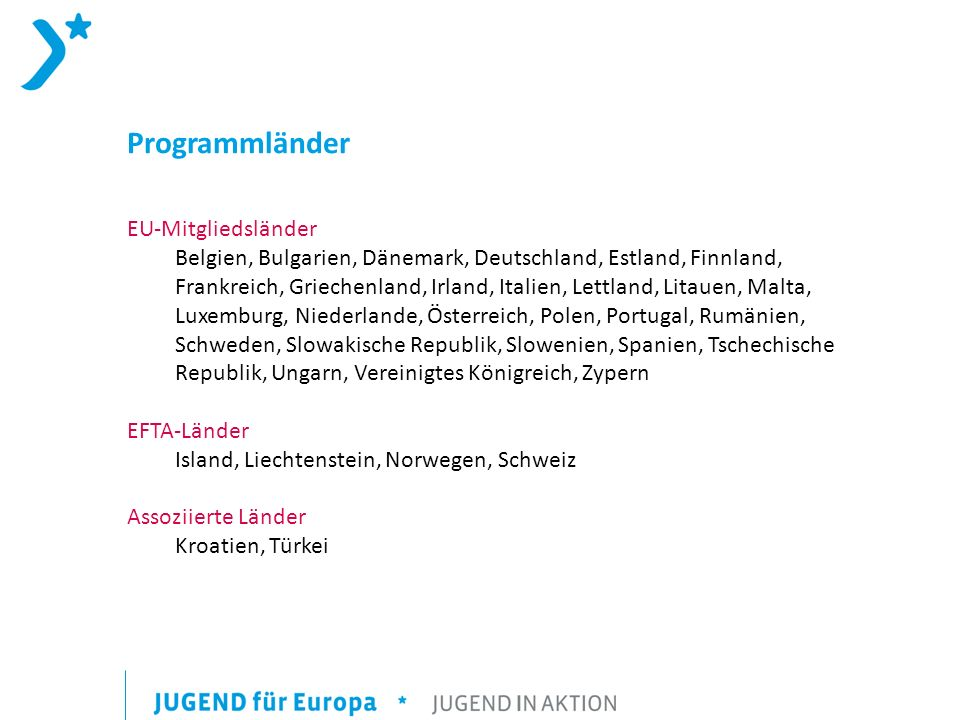 Programmländer EU-Mitgliedsländer