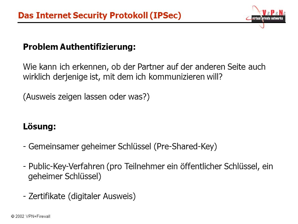 Das Internet Security Protokoll (IPSec)