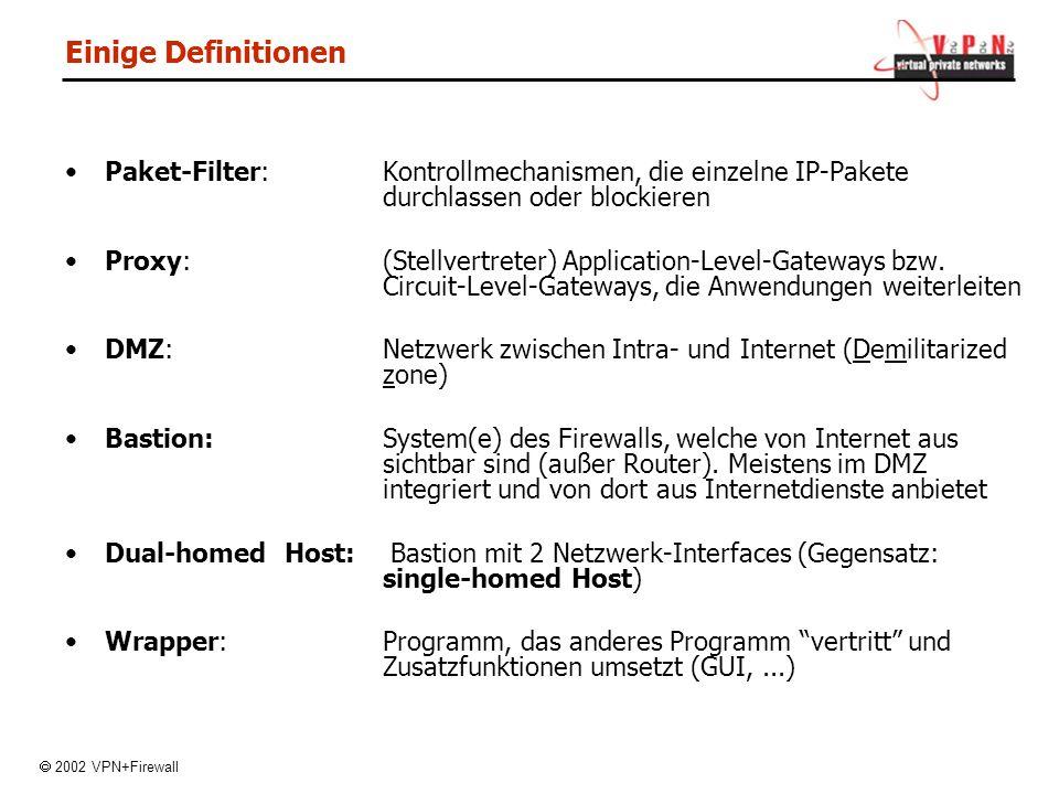 Einige Definitionen Paket-Filter: Kontrollmechanismen, die einzelne IP-Pakete durchlassen oder blockieren.