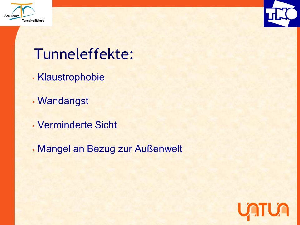 Tunneleffekte: Klaustrophobie Wandangst Verminderte Sicht