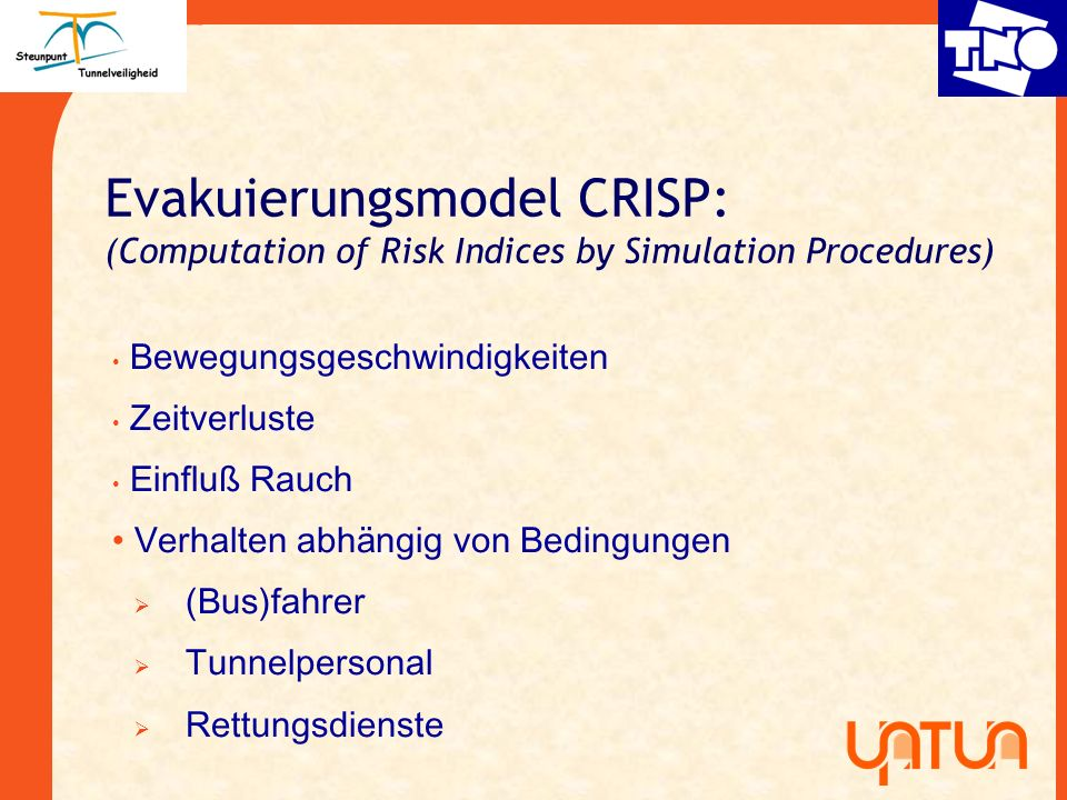 Evakuierungsmodel CRISP: (Computation of Risk Indices by Simulation Procedures)