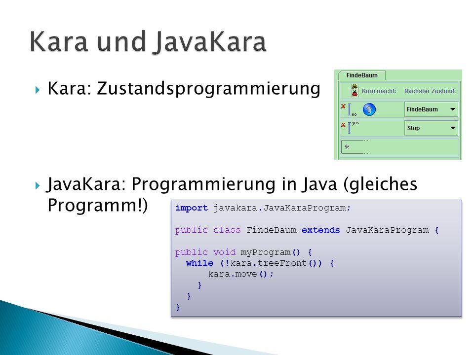 Kara und JavaKara Kara: Zustandsprogrammierung