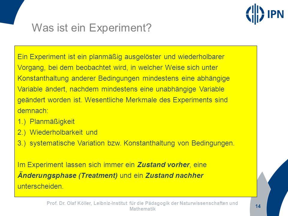 Was ist ein Experiment Ein Experiment ist ein planmäßig ausgelöster und wiederholbarer.