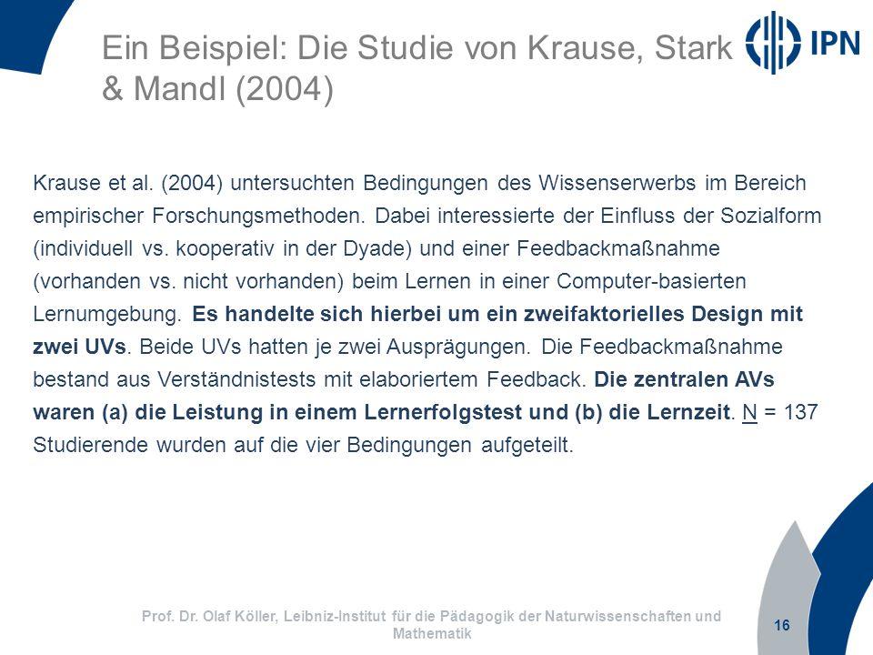 Ein Beispiel: Die Studie von Krause, Stark & Mandl (2004)