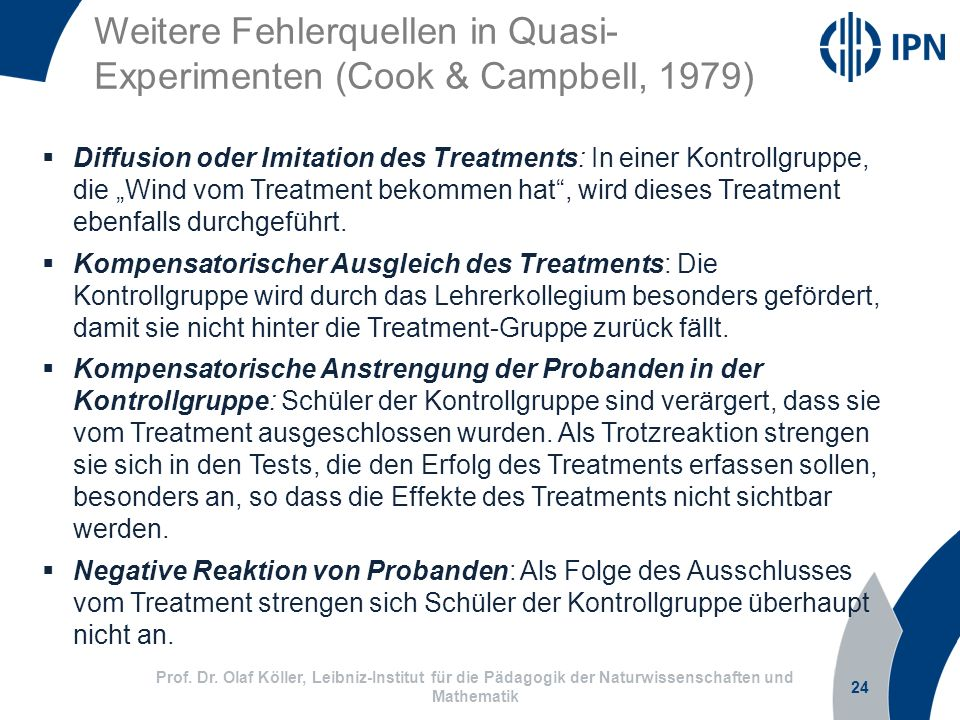 Weitere Fehlerquellen in Quasi-Experimenten (Cook & Campbell, 1979)