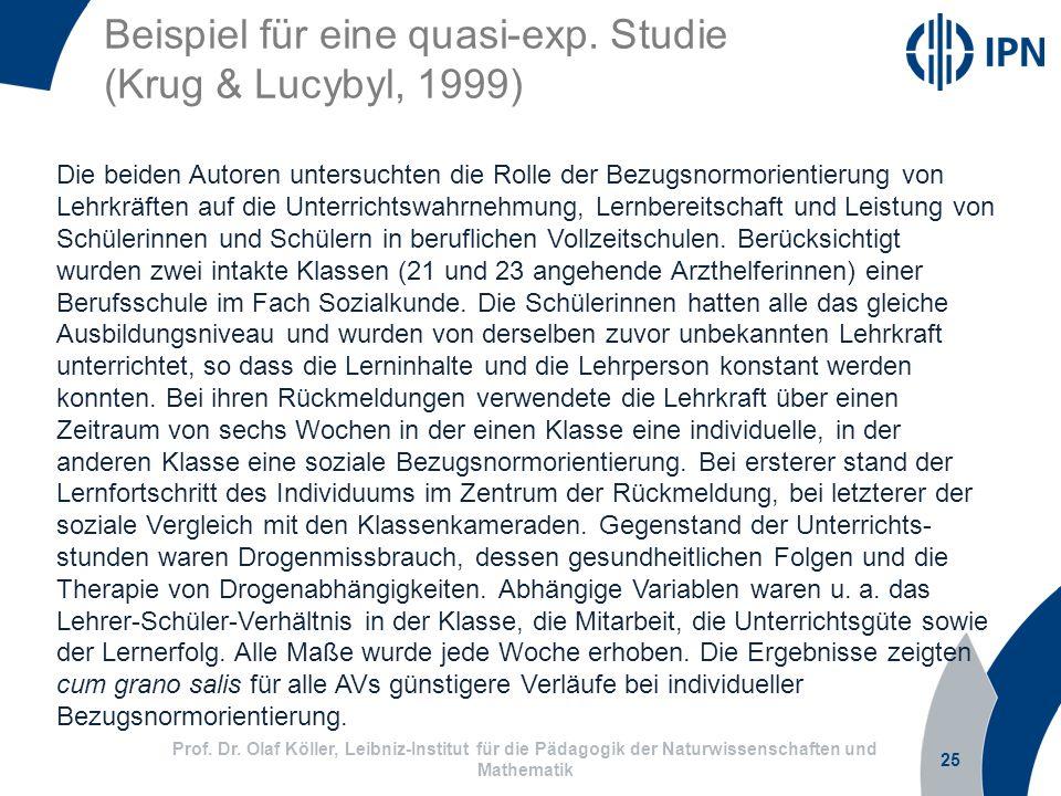 Beispiel für eine quasi-exp. Studie (Krug & Lucybyl, 1999)