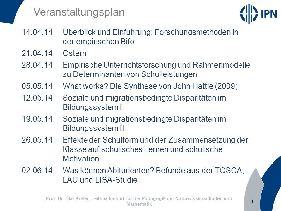 Veranstaltungsplan 14.04.14 Überblick und Einführung; Forschungsmethoden in der empirischen Bifo. 21.04.14 Ostern.