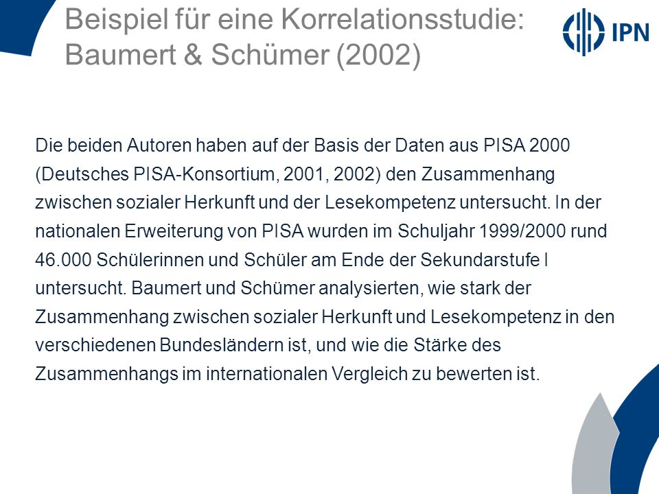 Beispiel für eine Korrelationsstudie: Baumert & Schümer (2002)