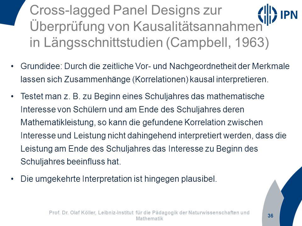 Cross-lagged Panel Designs zur Überprüfung von Kausalitätsannahmen in Längsschnittstudien (Campbell, 1963)
