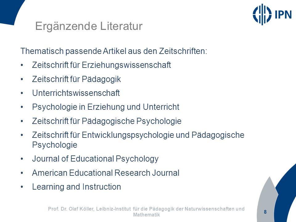 Ergänzende Literatur Thematisch passende Artikel aus den Zeitschriften: Zeitschrift für Erziehungswissenschaft.