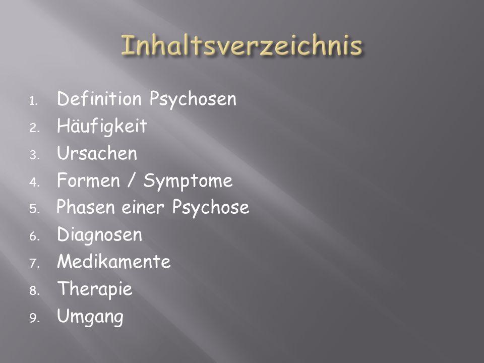 Inhaltsverzeichnis Definition Psychosen Häufigkeit Ursachen