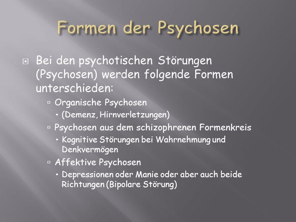 Formen der Psychosen Bei den psychotischen Störungen (Psychosen) werden folgende Formen unterschieden: