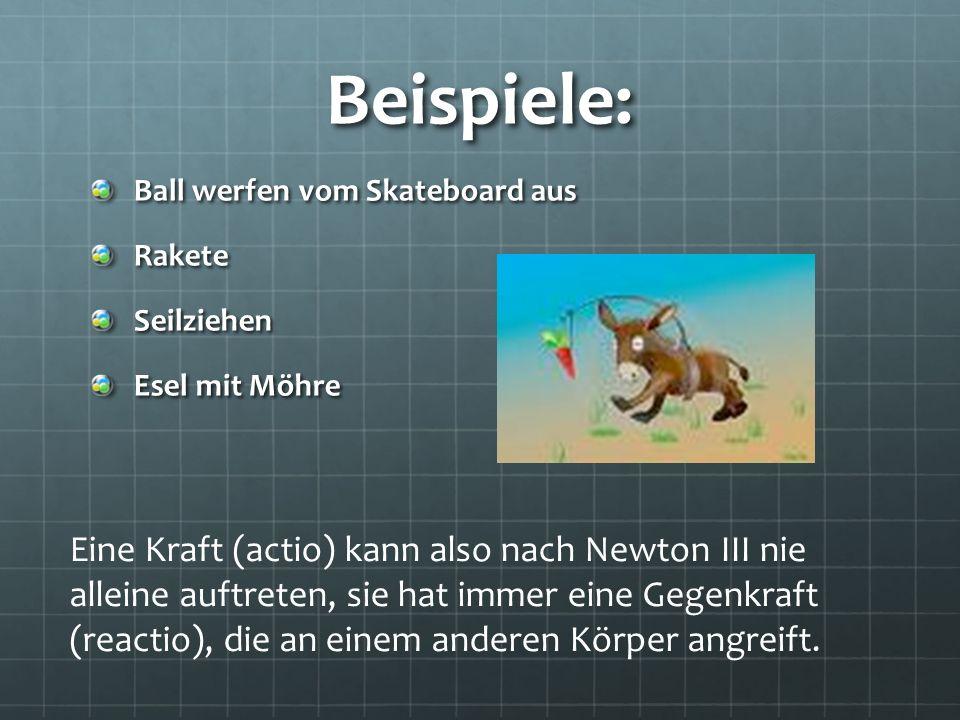 Beispiele: Ball werfen vom Skateboard aus. Rakete. Seilziehen. Esel mit Möhre.