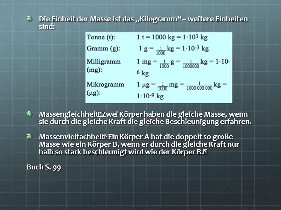 """Die Einheit der Masse ist das """"Kilogramm – weitere Einheiten sind:"""