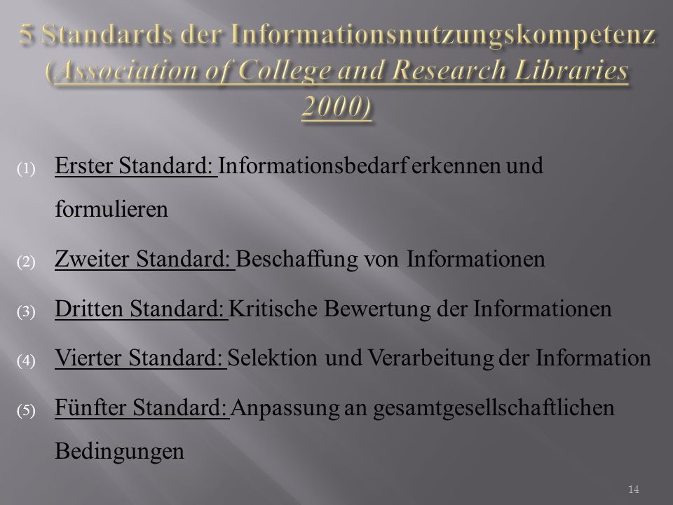 5 Standards der Informationsnutzungskompetenz (Association of College and Research Libraries 2000)